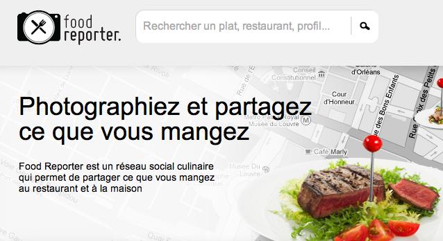 Un Screenshot de l'application Food Reporter