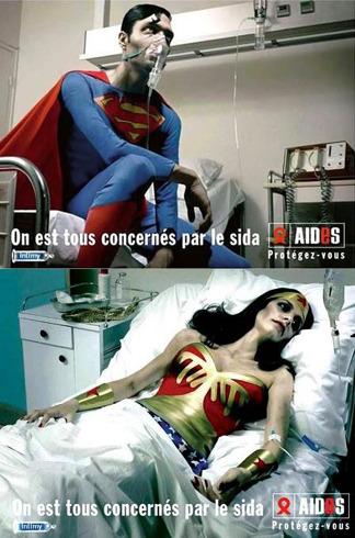 La campagne AIDES avec Wonderman et Superman