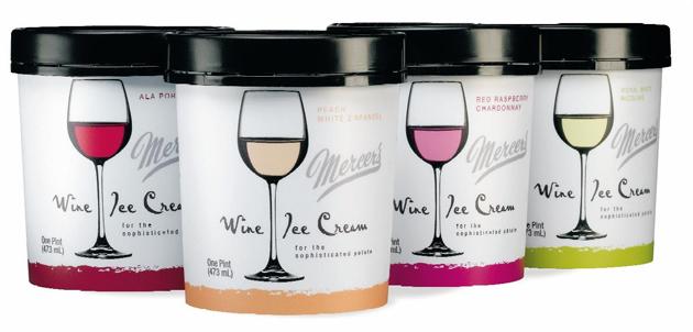Les pots de glaces aromatisés au Vin