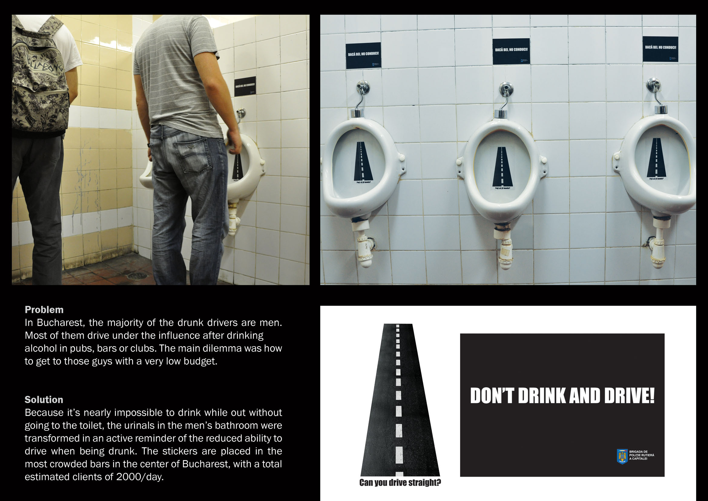 Des la prévention dans des urinoirs à Bucarest