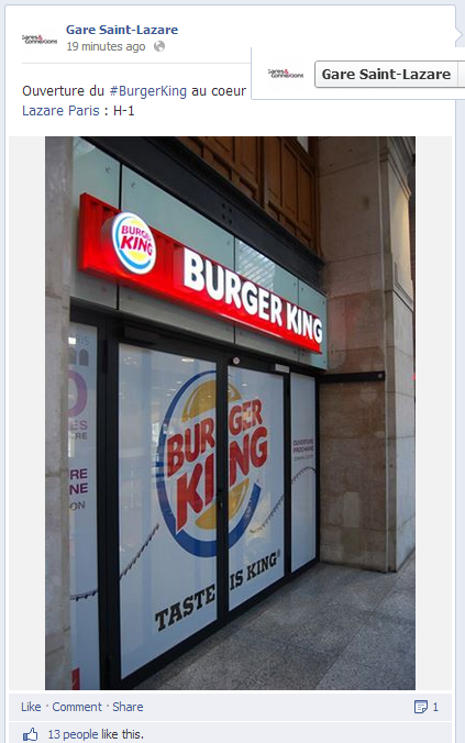 Ouverture burger king saint lazare paris