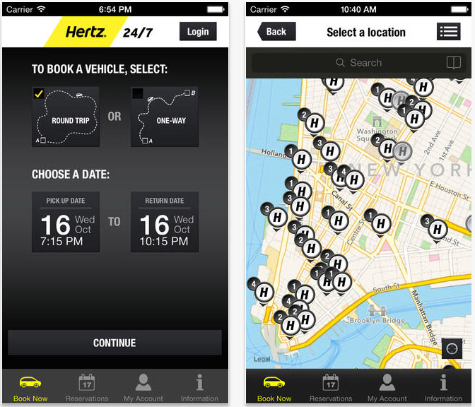application mobile hertz 24 7