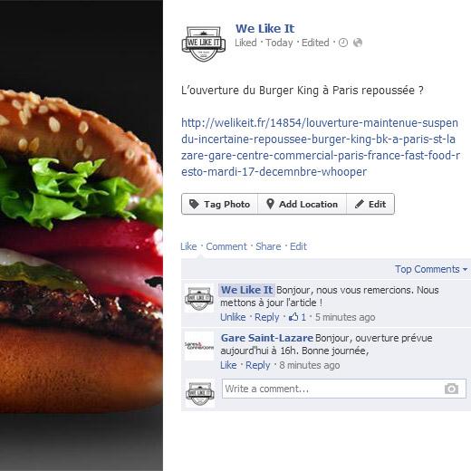 burger king ouverture officielle lundi 15 decembre