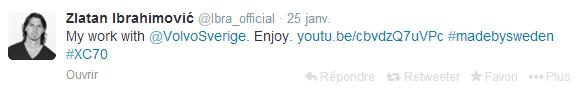 Zlatan Ibrahimovic  Ibra tweet official sur Twitter