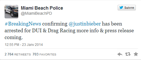 tweet de la police de miami
