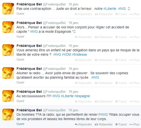twitter post frederique bel anti ivg avortement