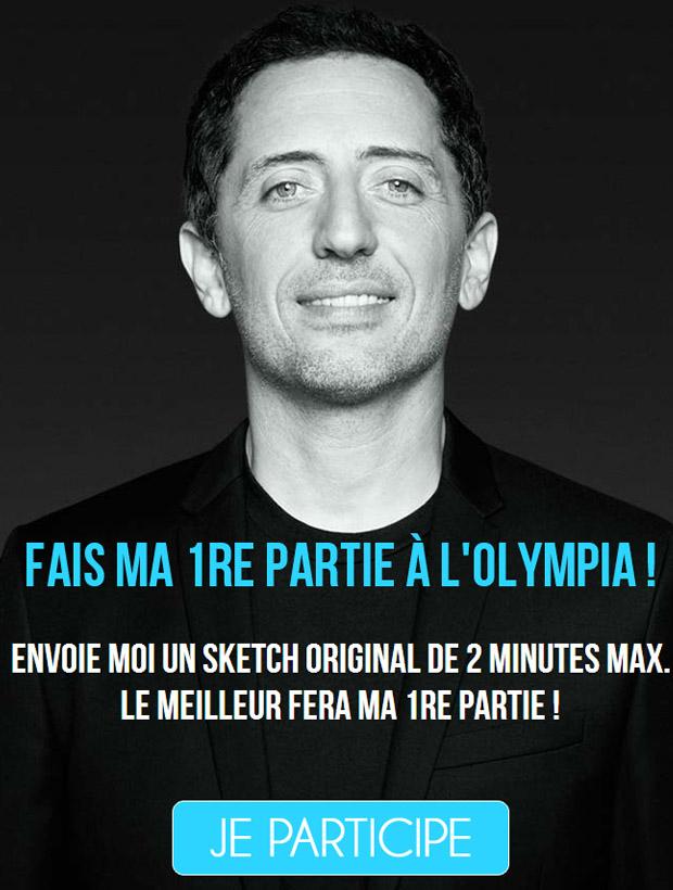 gad elmaleh drole sketch vous invite a faire sa premiere partie a l'olympia via un concourt