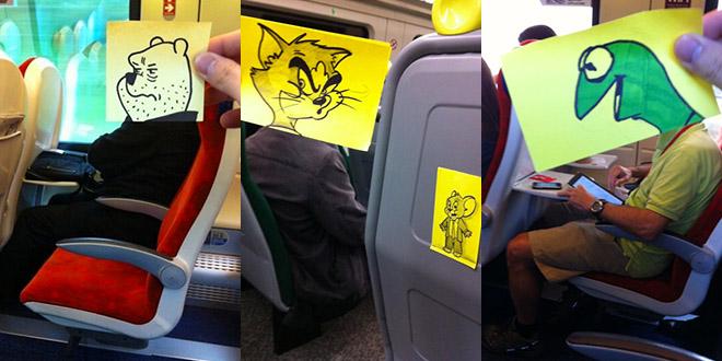 illustrateur dans le train