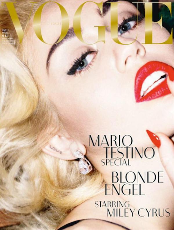Miley pose nue pour le magazine vogue Allemagne photographe mario testino