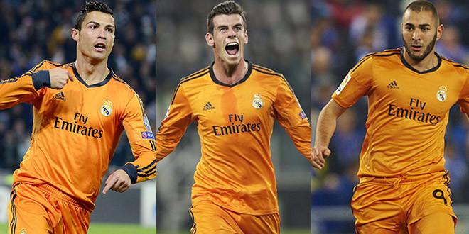 trio real orange gareth bale cristiano ronaldo karim benzema