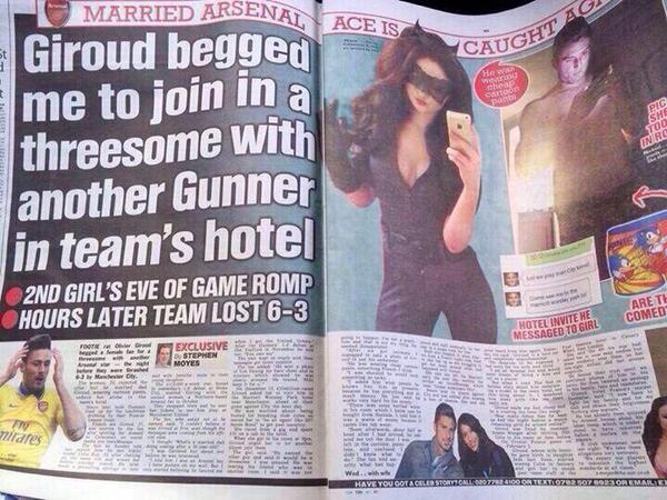 the sun threesome olivier giroud scandal