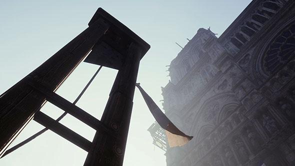 guillotine aux pieds de la Cathédrale