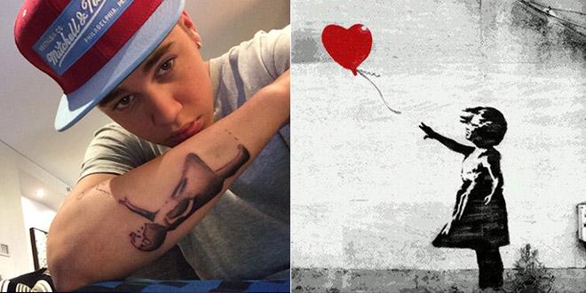 bieber se fait tatouer l'oeuvre de l'enfant de banksy sur le bras.