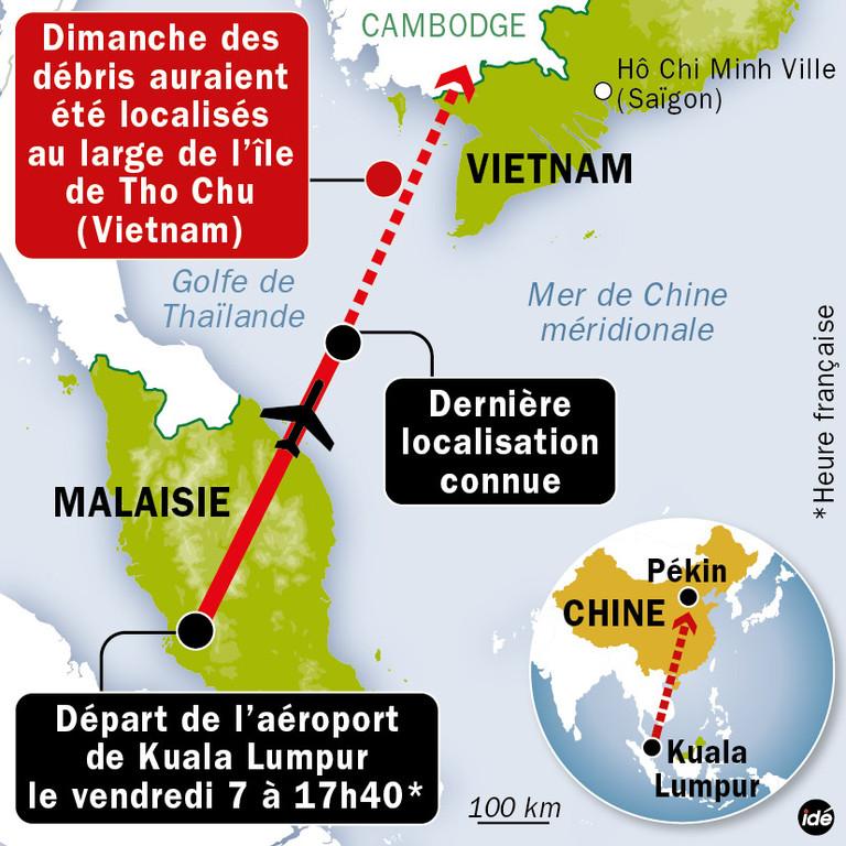 carte de localisation des debris possibles du vol mh370