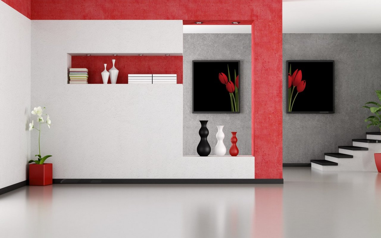 interieur design rouge blanc