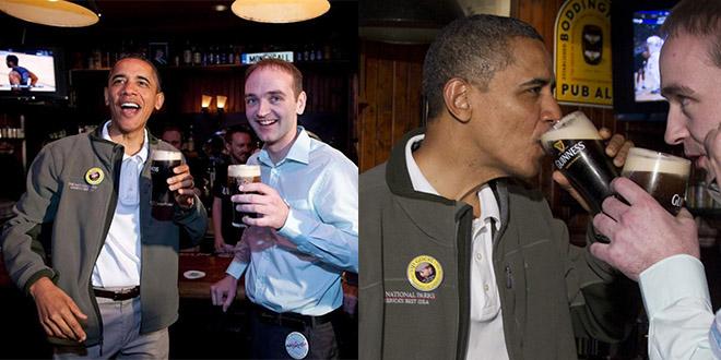 obama boit biere st patrick