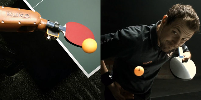 ping pong match duel robot homme