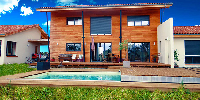 piscine terrasse fond mobile jardin