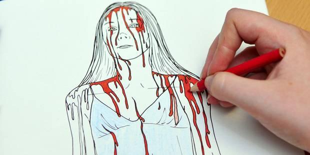dessin d'une fille ensanglantée