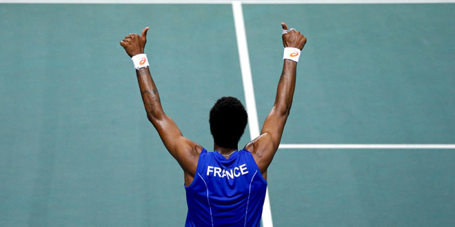 France's Monfils celebrates his victory against Germany's Gojowczyk during their Davis Cup quarter-finals singles tennis match in Nancy