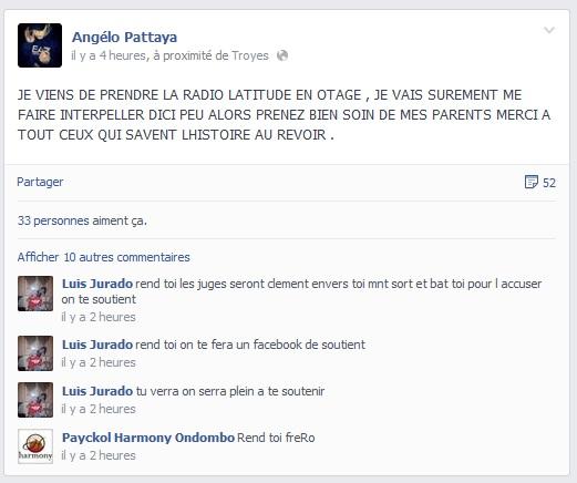 Radio latitude facebook angelo prise d'otage
