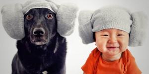 bebe Zoey & chien Jasper