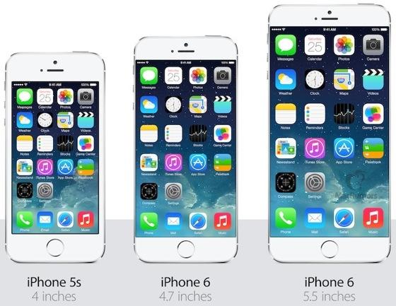 comparatif tailles iPhones