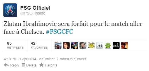 tweet du PSG