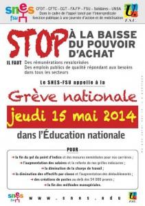 greve des enseignant jeudi 15 mai