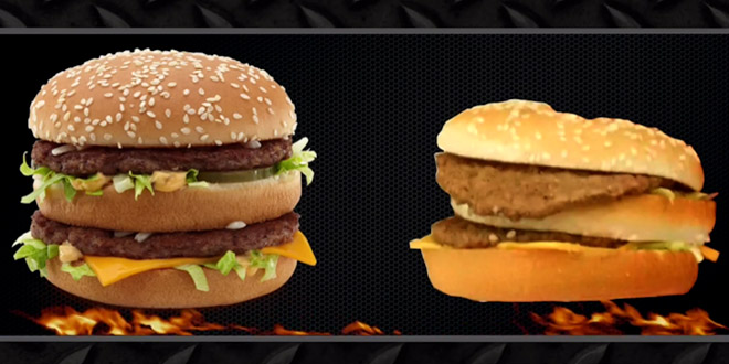 camera cachee fast food hamburgers realite avec pubs