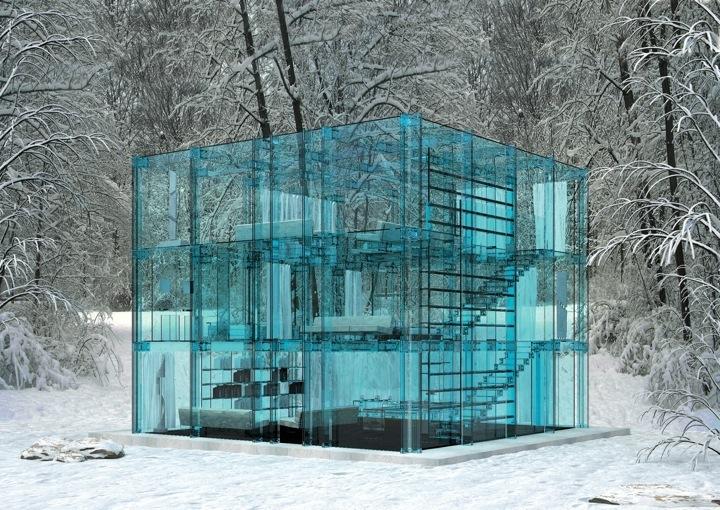top maisons insolites maison de verre bleu