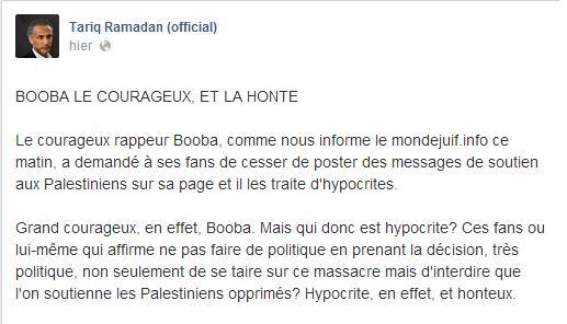 booba gaza instagram tariq ramadan israel