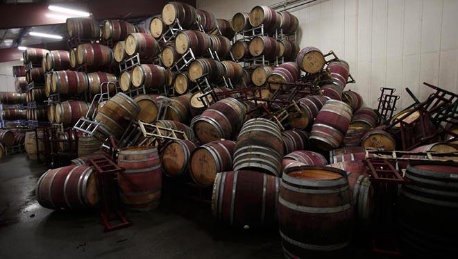 tonneaux vin détruits séisme californie