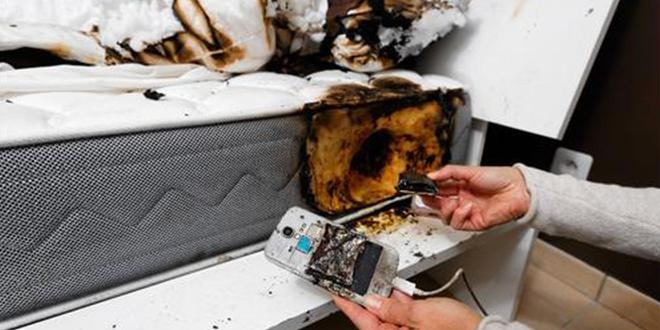 son smartphone prend feu