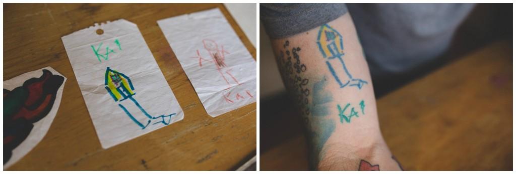 tatouage dessin petit garcon encre