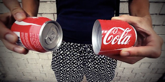 coca canette partage en deux