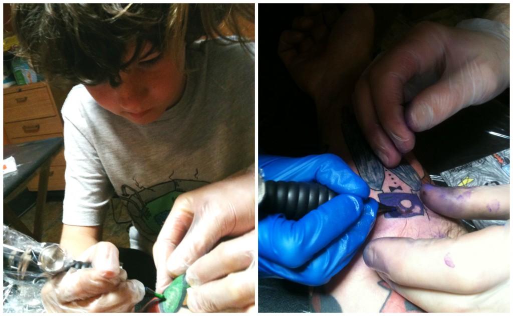 fils tatoue son papa dessin