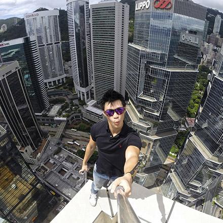 selfie gratte ciel