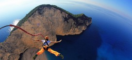 Rope base jumping grece saut