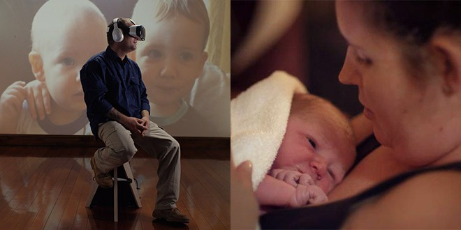 jason larke accouchement femme bebe casque realite