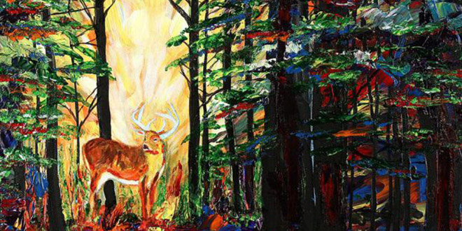 peintre aveugle cerf bois
