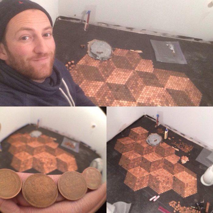 Vous ne devinerez jamais en quoi est fait ce sol de cuisine la r ponse va vo - Sol en piece de monnaie ...