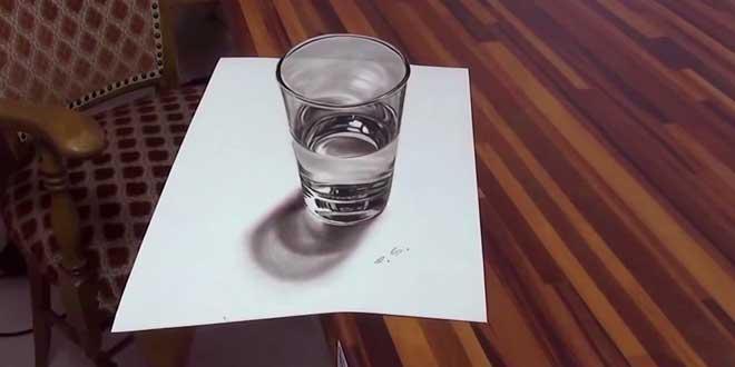 L 39 illusion anamorphique d 39 un verre d 39 eau en 3d - Dessin de verre ...