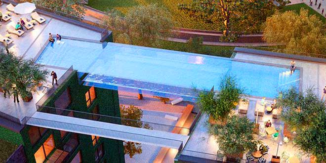 sky pool la piscine suspendue entre deux immeubles. Black Bedroom Furniture Sets. Home Design Ideas