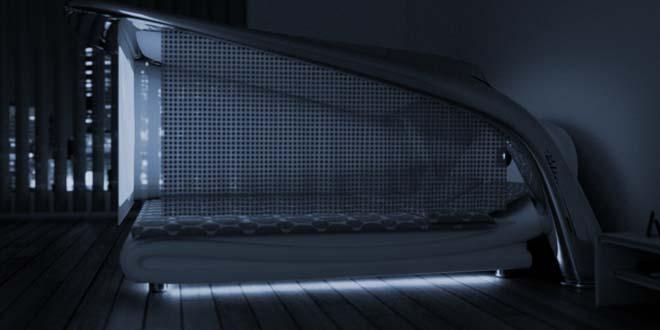 ce lit de r ve se transforme en mini salle de cin ma. Black Bedroom Furniture Sets. Home Design Ideas